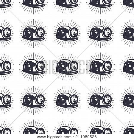 Crypto Mining concept seamless pattern, pickaxe and bitcoin wallpaper, crypto concept. Digital assets background. Vintage han drawn black design. Stock vector illustration isolated on white.