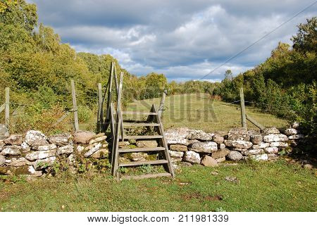 Wooden stile by an old dry stone wall in a swedish nature reserve at the island Oland