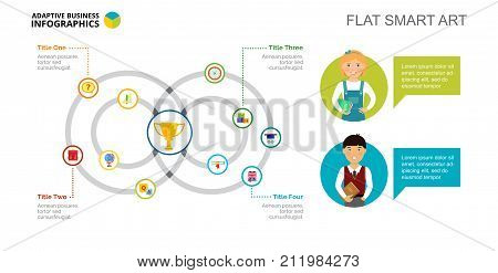 Venn chart. Cycle diagram, process graph, template. Creative concept for infographics, presentation. Can be used for topics like education, school, competition.