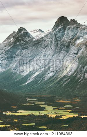 Rocky Mountains Landscape Romsdal Alps in Norway aerial view Travel scenery scandinavian nature