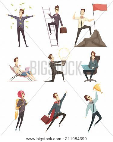 Business success retro cartoon icons collection with businessman winner in money rain moving upwards isolated vector illustration