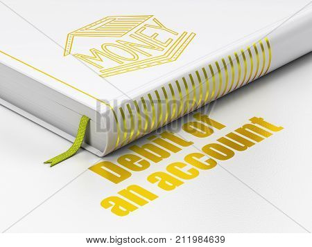 Money concept: closed book with Gold Money Box icon and text Debit of An account on floor, white background, 3D rendering