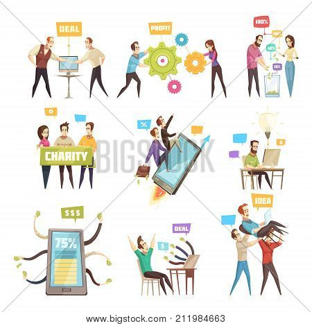 Set of nine cartoon crowdfunding scenes  with people concluding deal looking for sponsor busying with charity work flat isolated vector illustration