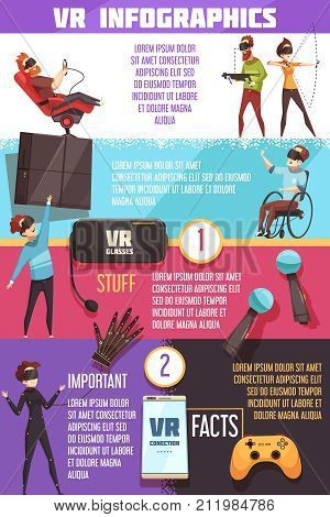 Virtual reality gaming systems facts best accessories introduction and guide to VR infographic cartoon poster vector illustration