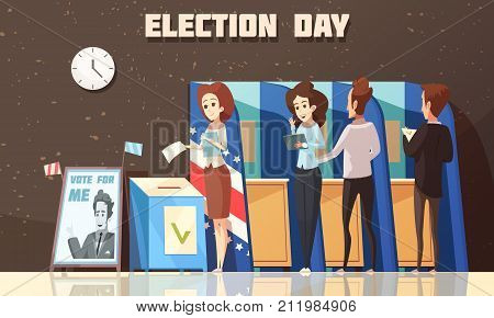 Election day political poster with voters casting ballots at polling place cartoon composition dark background vector illustration