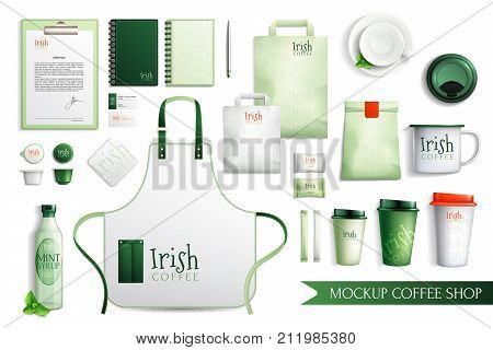 Mockup coffee shop design set of isolated elements cover slut paper bags cups and sweets vector illustration