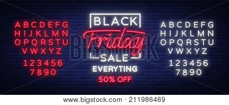 Black Friday sale neon sign, neon banner, background brochure. Glowing neon sign, bright glowing advertising, sales discounts Black Friday. Vector illustration. Editing text neon sign
