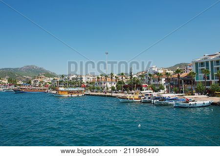 MARMARIS, TURKEY - AUGUST 12, 2009: View to the harbor of the Marmaris resort town in Marmaris, Turkey.