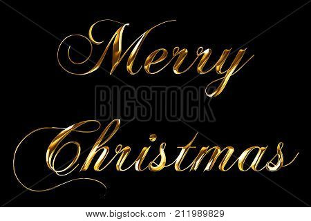 Vintage Yellow Gold Metallic Merry Christmas Word Text With Light Reflex On Black Background With Al