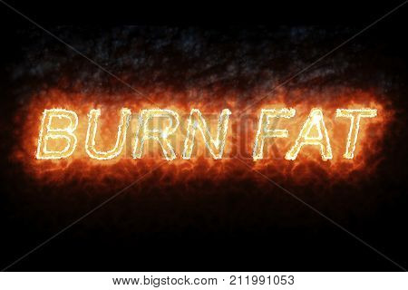 burning font burn fat fire word text with flame and smoke on black background concept of medical diet nutrition healthy life style