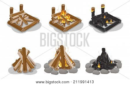 Brown and black firewood set isolated on white. Vector banner of touristic campfires with and without burning flame. Types of camp fires made of chopped trees. Firewood collection in flat design