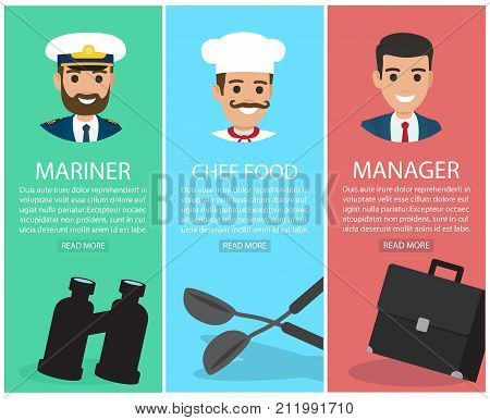Mariner in pointed cap with black binoculars, moustached chef cook with two soup ladles, young manager and dark suitcase vector posters set