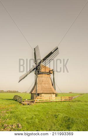Dutch windmill De Snip in It Heidenskip in Friesland.