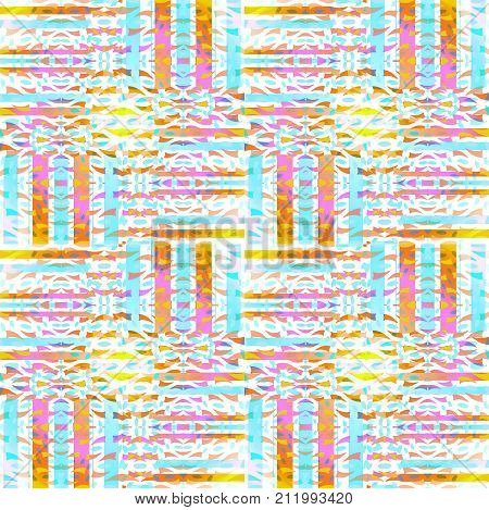 Abstract geometric seamless background. Regular intricate stripes pattern light blue, violet, yellow, orange, brown and white shifted.