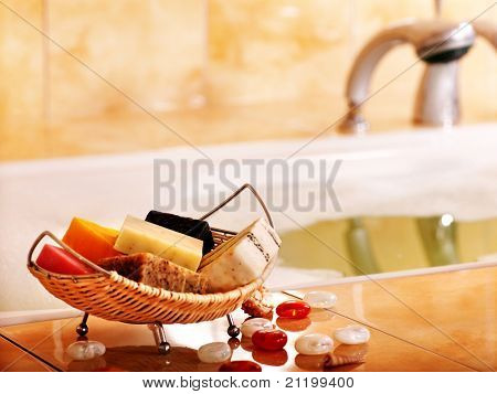 Bath still life with bar of soap in bathroom.