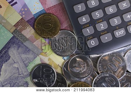 Top view / Flat Lay of Spending money and payments calculation illustrated with coins and calculator