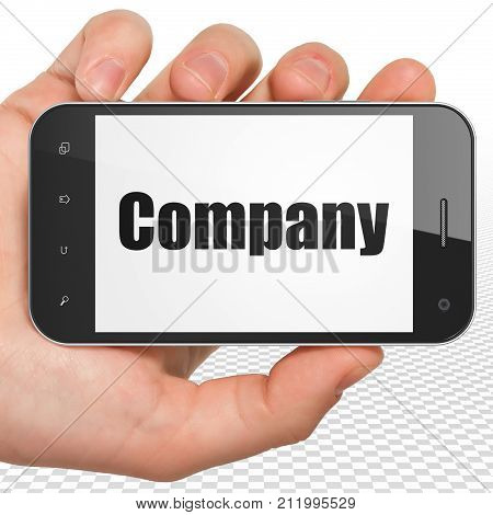 Business concept: Hand Holding Smartphone with black text Company on display, 3D rendering