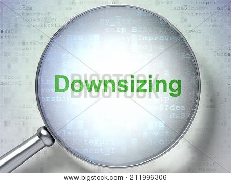Finance concept: magnifying optical glass with words Downsizing on digital background, 3D rendering