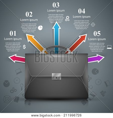 Briefcase - business illustration with color icon. Vector eps 10