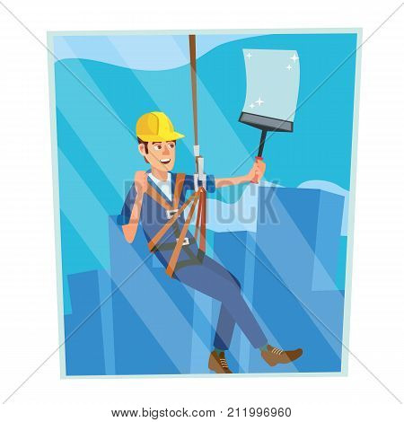 Window Washer Worker Vector. Man Cleaning Window Squeegee Spray. Window Washer Is Cleaning High Building. Cartoon Character Illustration