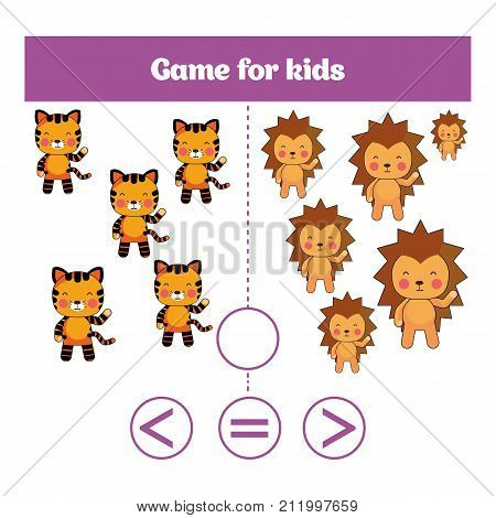 Education logic game for preschool kids. Choose the correct answer. More less or equal Vector illustration.
