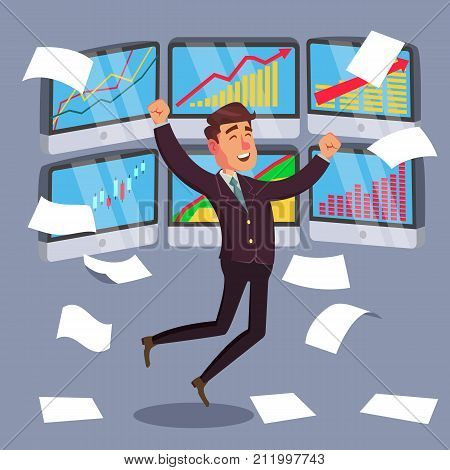 Professional Trader Vector. Online Working Trader With Monitor. Multiple Computer Screens. Flat Cartoon Illustration
