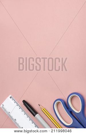 Office Supplies Banner Image On Pink Background At Portrait Orientation