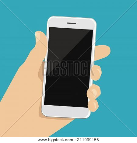 A human hand holds a smartphone. Vector illustration of a smartphone in a man hand. Modern phone in the palm of your hand. Infographics for flat design and presentations