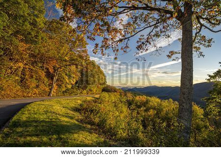 A beautiful autumn sunrise along the Blue Ridge Parkway in North Carolina.