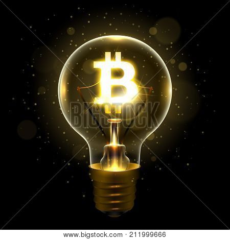 Realistic lamp with the symbol of cryptocurrency instead of the filament of incandescence, isolated on a dark background, vector illustration