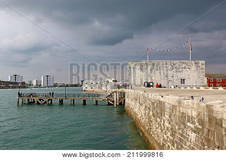 Sea Wall and Barracks at Battery Point, Portsmouth