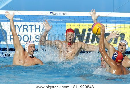 BARCELONA, SPAIN - AUG, 1: Brinislav Mitrovic goalkeeper of Serbia in action during a match of World Championship BCN2013 at the Picornell Swimming pool on August 1, 2013 in Barcelona Spain