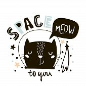 Cute cat in space print. Childish vector illustration in scandinavian style. Perfect for kids and baby apparel design wall art poster poster