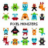 Pixel invaders. Vector computer pixel space or cosmic invader set graphics for vintage arcade video game poster