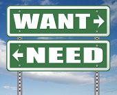 want need back to basic needs or being a big consumer society without satisfaction only must have always more never enough or less road sign arrow 3D, illustration poster