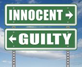 innocent or guilty presumption of innocence until proven guilt as charged in a fair trial for crime suspect 3D, illustration poster