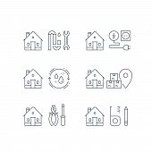 Electricity services, plumbing repair, p-trap clog, home cleaning, moving house, box delivery, home maintenance, real estate solution, installment concept, vector line icon poster