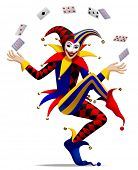 Joker with playing cards. Three dimensional stylized drawing poster