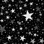 White stars seamless pattern on black background. Brilliant endless random scattered white stars festive pattern. Modern creative chaotic decor. Vector abstract illustration. poster