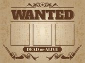 Vintage wanted western poster with blank space for criminal photos - wanted template design. Vector illustration poster
