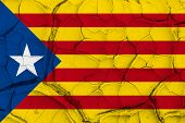 Independence Catalonia Flag on Cracked texture background. National Concept poster