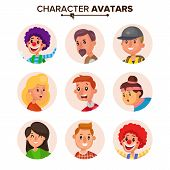 People Characters Avatars Set Vector. Color Placeholder. Cartoon Flat Isolated Illustration poster