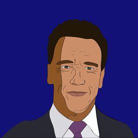 Oct, 2017: Vector illustration portrait famous actor Arnold Schwarzenegger on blue background