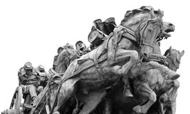 Civil War Memorial Statue At The U.s. Capitol Building In Washington Dc In Black And White