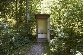 open Mountain toilet Out house. in germany