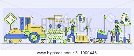 Workers Building Or Repairing Road, Laying Asphalt.