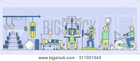 Men And Women Work Out At Gymnasium. Exercise Room.
