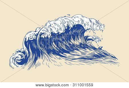 Elegant Colored Drawing Of Sea Or Ocean Wave With Foaming Crest Isolated On Light Background. Oceani