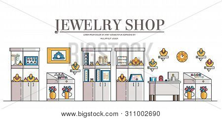 Modern Jewelry Shop Or Store Interior. Vector.