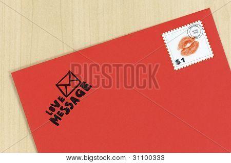 romantic red love letter